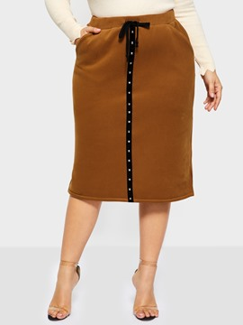 Ericdress Rivet Knee-Length Color Block Fashion Standard Waist Skirt