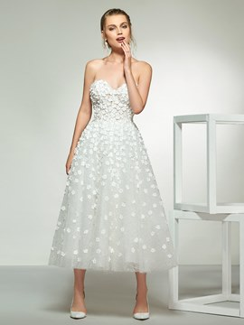Ericdress A-Line Tea-Length Applique Wedding Dress