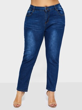 Ericdress Plain Pencil Pants Zipper Slim Jeans
