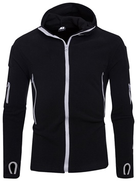 Ericdress Plain Hooded Zipper Mens Cardigan Hoodies