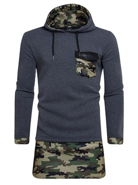 Ericdress Patchwork Camouflage Hooded Mens Mid-Length Hoodies