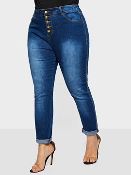 Ericdress Pencil Pants Mid-Waist Slim Jeans