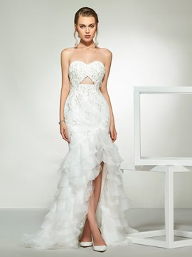Ericdress Appliques Tiered Asymmetry Beach Wedding Dress