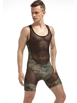 Ericdress Camouflage Patchwork Sleeveless Bodysuit for Men