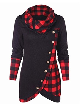 Ericdress Plaid Regular Button Mid-Length Long Sleeve Hoodie