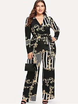 Ericdress Floral Full Length Casual Wide Legs High-Waist Jumpsuits