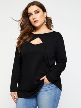 Ericdress Mid-Length Plain Single Plus Size T-Shirt