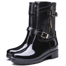 Ericdress Plain Side Zipper Block Heel Women's Hunter Boots