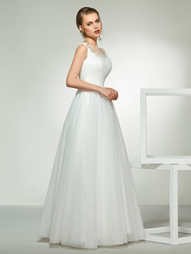 Ericdress Beading Bateau Neck Wedding Dress