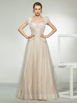 Ericdress Feather Cap Sleeve Beading High Neck Wedding Dress