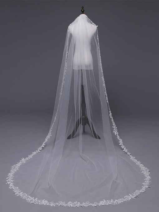 Ericdress One-Layer Appliques Applique Edge Wedding Veil