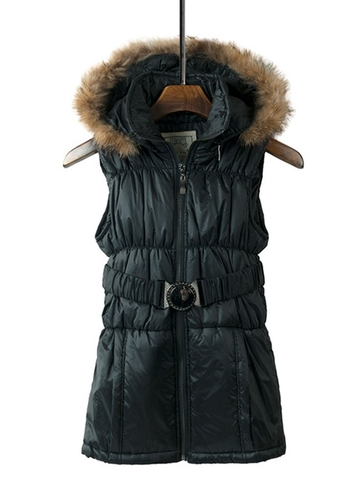 Ericdress Hooded Patchwork Color Block Fall Mid-Length Vest