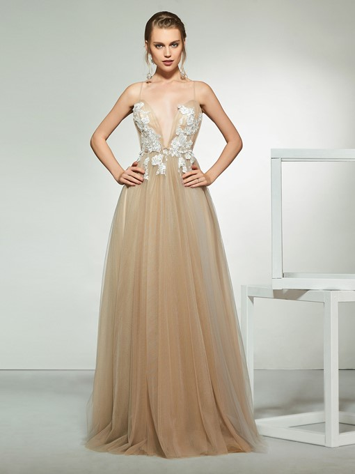 Ericdress Appliques Sexy Backless Wedding Dress