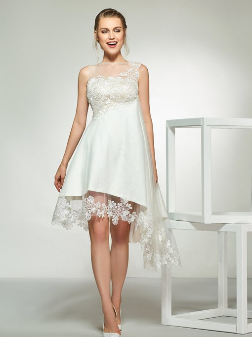 Ericdress Lace Asymmetry Beach Wedding Dress