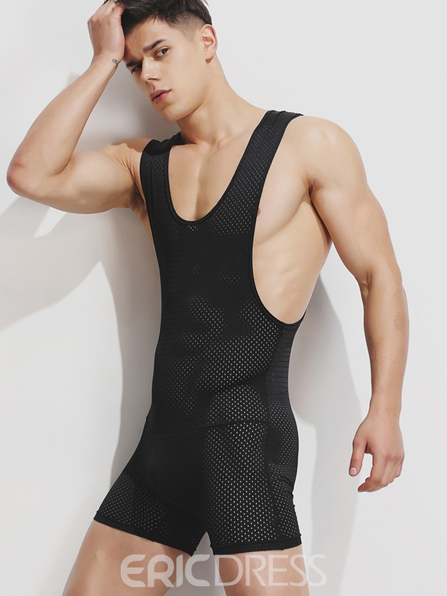 Ericdress Shaping Breathable Spaghetti Strap Bodysuit for Men