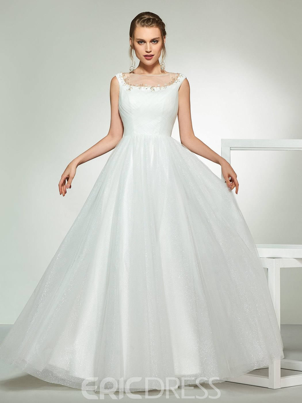 Ericdress A-Line Beading Bateau Wedding Dress With Beadings