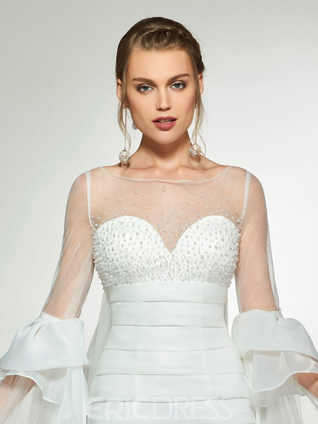 Ericdress Beading Sleeves Short Beach Wedding Dress