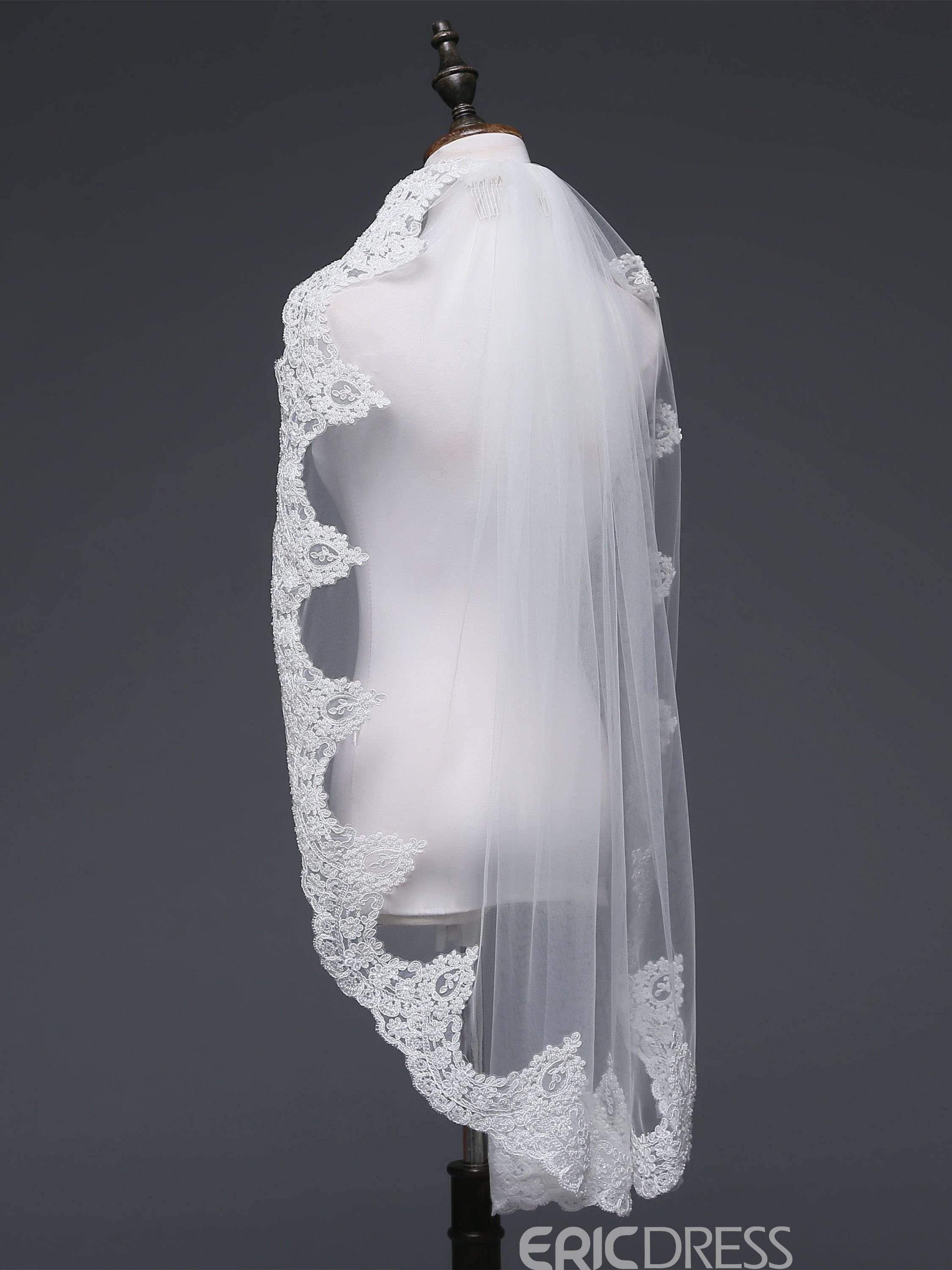 Ericdress One-Layer Applique Edge Elbow Wedding Veil