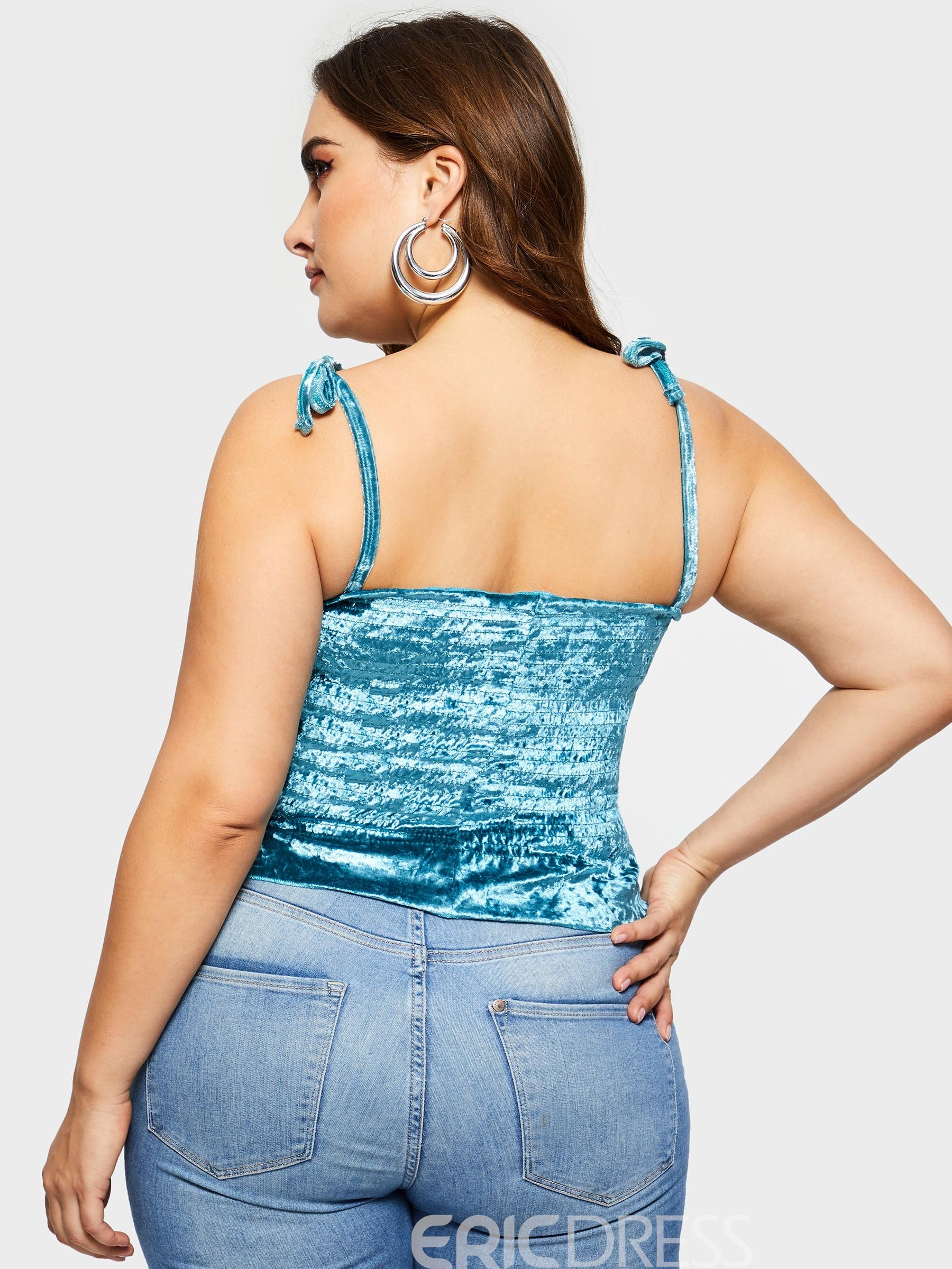 Ericdress Ruffles Pleated Lace-Up Plus Size Tank Top