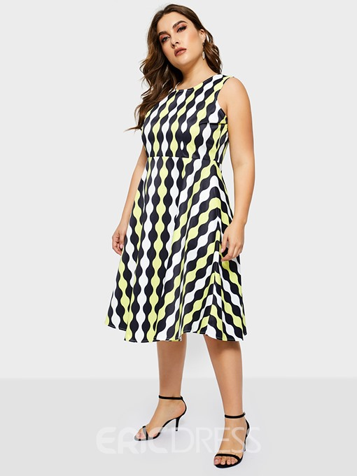 Ericdress Plus Size Sleeveless Knee-Length Round Neck Expansion Pullover Dress