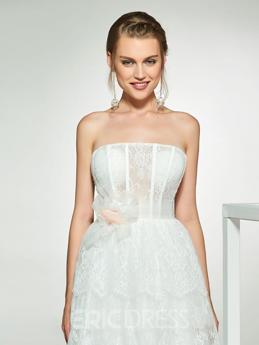 Ericdress Strapless Layers Lace Wedding Dress 2019