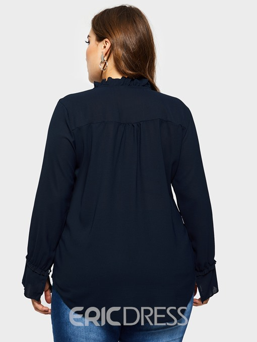 Ericdress Plain Plus Size Casual Blouse
