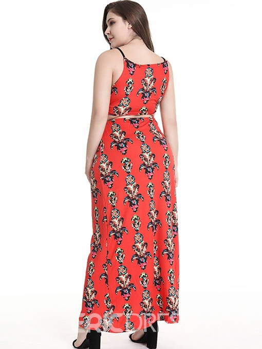 Ericdress Plus Size Print Ankle-Length Sleeveless Sexy Pencil Dress