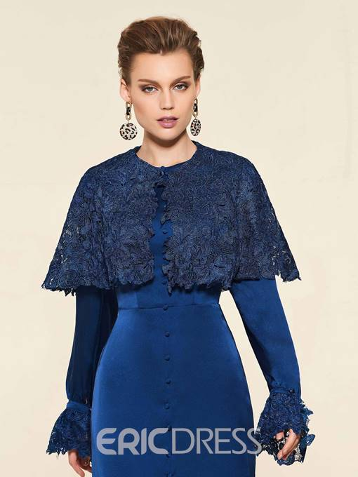 Ericdress Button Long Sleeves Mother of the Bride Dress with Cape