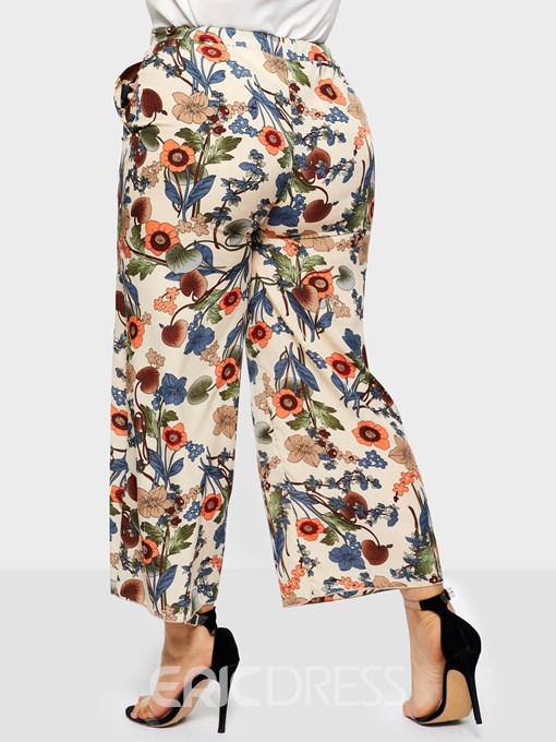 Ericdress Plus Size Loose Floral Print Wide Legs Casual Pants