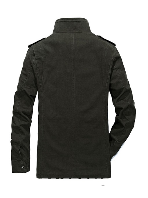 Ericdress Plain Pocket Stand Collar Mens Casual Jacket