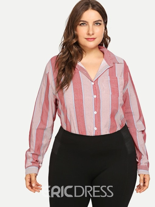 Ericdress Button Stripe Lapel Plus Size Blouse