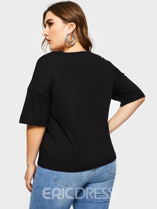 Ericdress Sport Loose Plus Size Sample T-Shirt