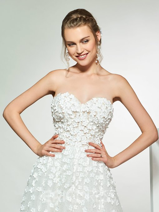 Ericdress A-Line Appliques Tea-Length Wedding Dress 2019
