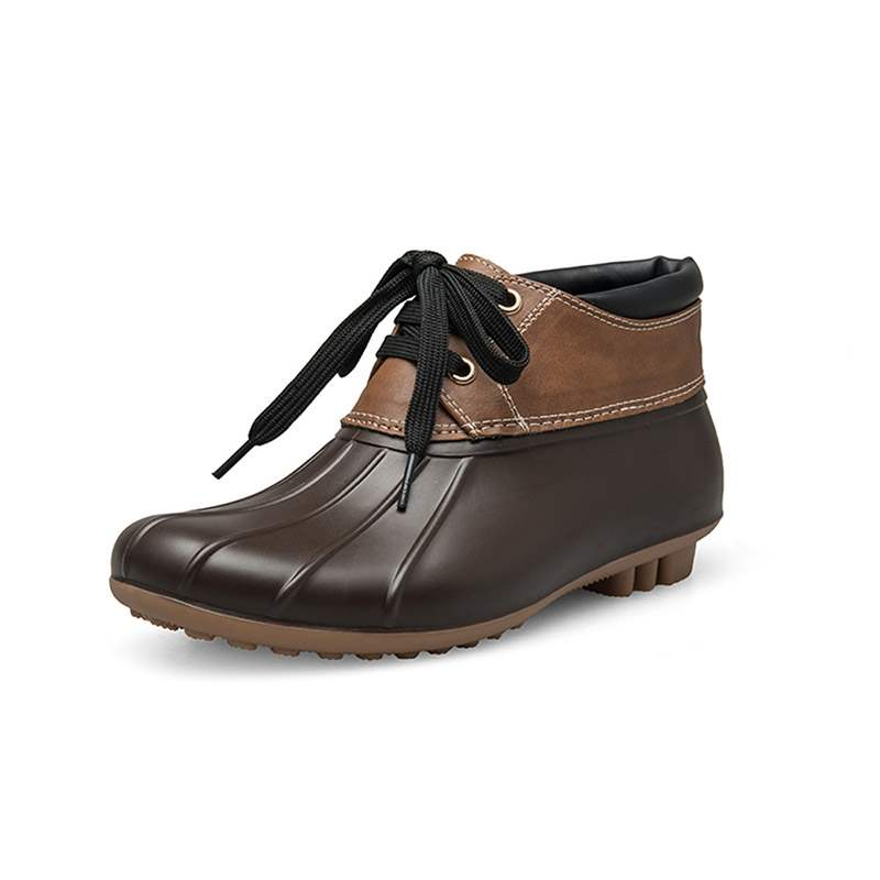 Ericdress Patchwork Round Toe Lace-Up Women's Hunter Boots