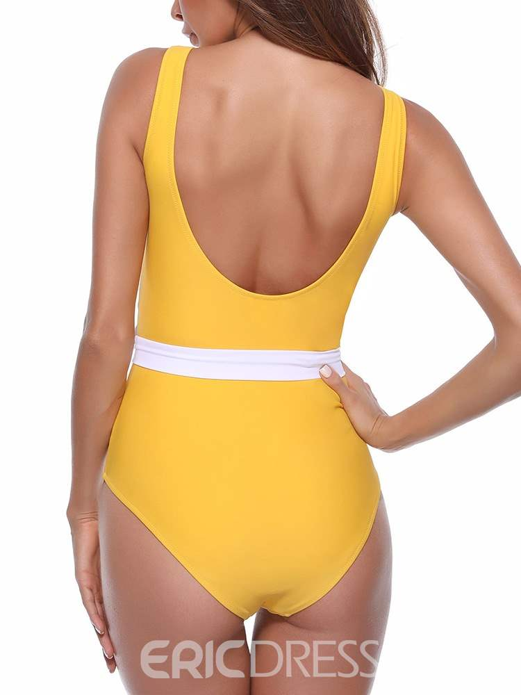 Ericdress One Piece Color Block Bowknot Sexy Swimwear