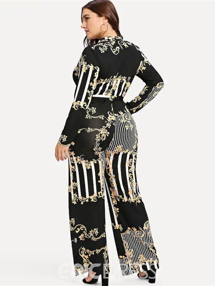 Ericdress Plus Size Floral Full Length Casual Wide Legs Plusee Jumpsuit