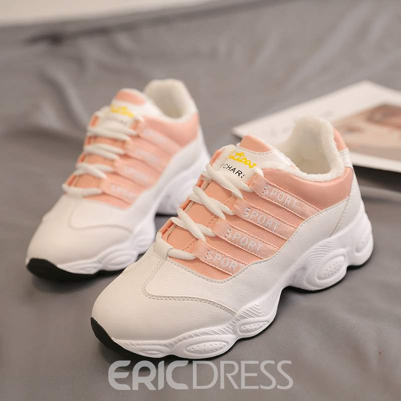 Ericdress PU Lace-Up Round Toe Women's Sneakers