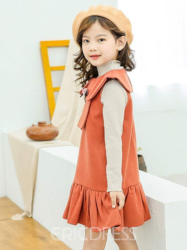 Ericdress Peter Pan Collar Ruffled Girls Dresses
