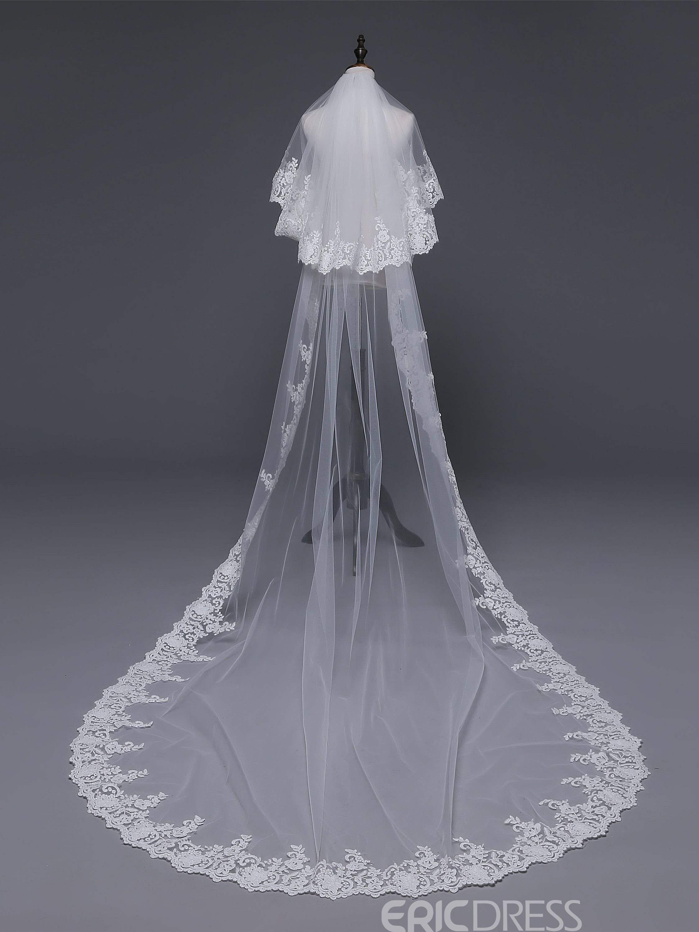 Ericdress Applique Edge Cathedral Two-Layer Wedding Veil