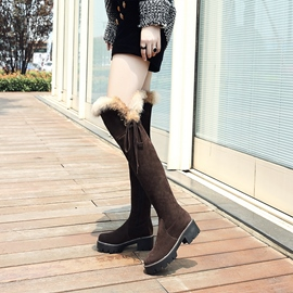 d4690d76c8f Ericdress Side Zipper Round Toe Chunky Heel Women s Knee High Boots