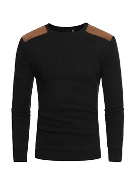 Ericdress Patchwork Round Neck Color Block Mens Casual Sweater
