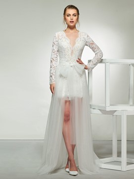Ericdress A-Line Bowknot Long Sleeves Lace Wedding Dress