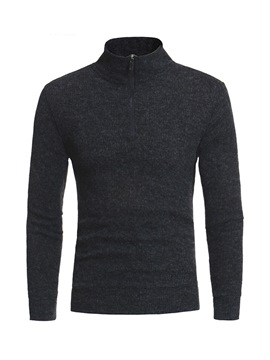 Ericdress Plain Stand Collar Quarter Zip Mens Casual Sweater