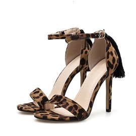 Ericdress Leopard Print Line-Style Buckle Stiletto Heel Women's Sandals