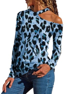 Ericdress Leopard Long Sleeve Oblique Collar Slim Spring T-Shirt