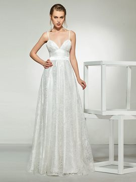 Ericdress A-Line Spaghetti Straps Beach Wedding Dress