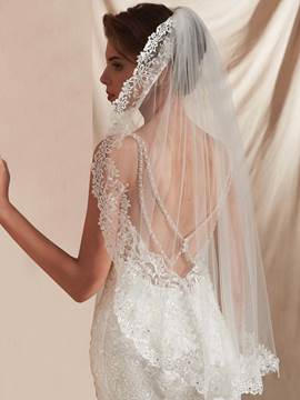 Ericdress Elbow One-Layer Appliques Beading Wedding Veil