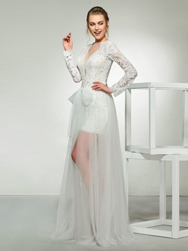 Ericdress Bowknot Long Sleeves Lace Beach Wedding Dress
