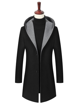 Ericdress Plain Hooded Mid-Length Single-Breasted Mens Wool Coat