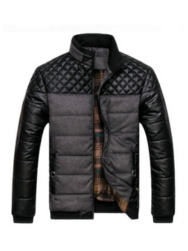 Ericdress Patchwork Stand Collar Color Block Mens Casual Down Jacket